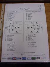 31/08/2012 COLORI teamsheet: Supercoppa Europea Finale: Chelsea V Atletico Madrid