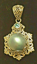 GENUINE SALTWATER GRAY MABE PEARL STERLING SILVER LARGE PENDANT