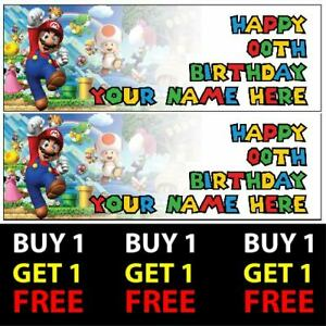 Buy 1 Get 1 Free Personalised Super Mario Birthday Banners 100gsm Kids Party