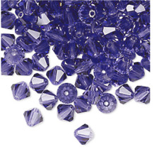Closeout - 50 Tanzanite 6mm Preciosa Czech Crystal Bicone Beads -Purple