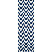 Safavieh Flat weave Wool Blue/ Ivory Area Rug 2' 6 x 14'
