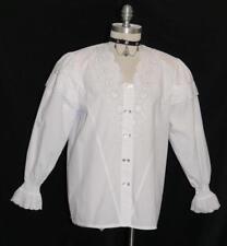 "Victorian WHITE COTTON Blouse Shirt Top German Dirndl LACE & RUFFLES / B42"" 14 L"