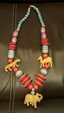 LONG Vintage African Necklace Wooden Beads Animals Purple Pink Blue BOHO Carved