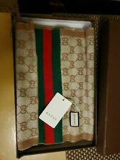 """Authentic Gucci shawl scarf  classic GG Khaki /Beige  specifications 82""""L/12"""" W"""