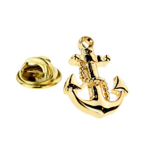 Gold Plated Naval Anchor & Chain Lapel Pin Badge X2AJTP887