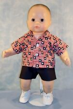 "15"" Boy Doll Clothes Stars/Stripes July 4 American Flag Shirt Outfit /Jane Ellen"