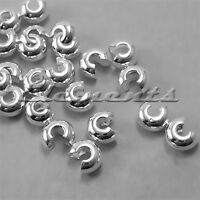 SOLID .925 STERLING SILVER 3MM CRIMP BEAD COVERS SF047
