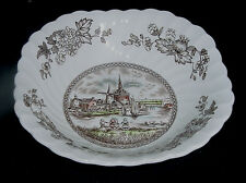 """JOHNSON BROS TULIP TIME SOUP / CEREAL BOWL BROWN MULTI COLORED SQUARE 6-1/4"""" vtm"""