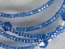 """Eyeglass Chain~Handmade Shiny Crystal Blue~28""""~Faceted Accents~Buy 3 SHIP FREE"""