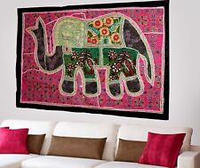 HANDMADE ELEPHANT BOHEMIAN PATCHWORK WALL HANGING EMBROIDERED TAPESTRY INDIA X54