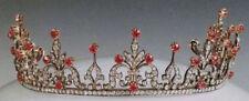 11.30cts ROSE CUT DIAMOND RUBY ANTIQUE VICTORIAN LOOK 925 SILVER TIARA
