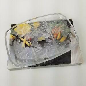 "Studio Nova Frosted Glass Winter Rose Divided Relish Serving Platter 11.5"" NEW"