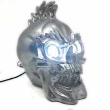 Motorcycle Silver Skull Head Light Headlight Lamp LED For Harley Chopper Bobber