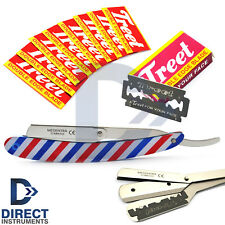 French Flag Cut Throat Straight Safety Hair Shaving Razor +10 Replaceable Blades