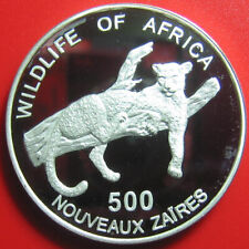 1996 ZAIRE 500 ZAIRES DEEP CAMEO SILVER PROOF LEOPARD AFRICAN WILDLIFE RARE COIN