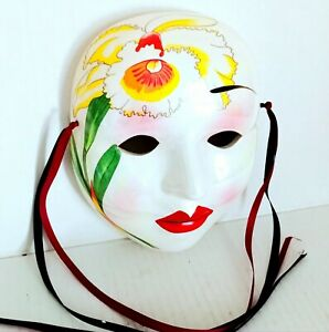 "Vintage Porcelain Ceramic Mardi Gras Hand Painted Wall Hanging Face Figurine 6"""