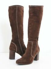 Alberto Fermani Suede Knee High Boots Womens 7.5 37.5 Brown Leather Italy Luxury