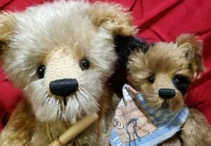 """Kimberly Fischer """"Biddlebum & Fleez"""" set artist teddy bear puppy 16"""" & 10"""""""