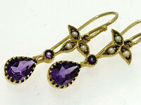 E152 Victorian styled Genuine 9ct Gold Natural Amethyst & Pearl Drop Earrings