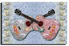 GREETING CARD BIRTHDAY any occasion  HANDMADE Guitars Pastel Shabby Chi Hi-Gloss