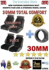 SHEEPSKIN (LAMBSWOOL) INSERTS CAR SEAT COVERS PR 30MM ABAG SAFE+STEERING WHEEL