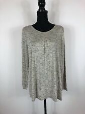Kensie Womens L White And Black Textured Long Sleeve Top NWT