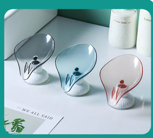 Leaf Shape Soap Holder Dish For Bathroom Quick Drain Large Suction Cup Fixed