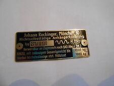 Johann Rockinger AHK Typenschild Schild Anhängekupplung Oldtimer LKW Zugmaul
