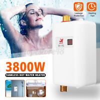 3.8KW LCD Electric Tankless Instant Hot Water Heater for Bathroom Kitchen