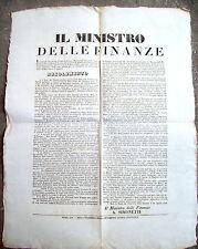 1848 BANDO SULL'EMISSIONE DI BUONI DEL TESORO PER SCONVOLGIMENTI POLITICI PIO IX