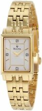 Bulova Ladies 97P102 Silver Dial Diamond Accent Gold-Tone Stainless Steel Watch