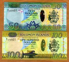 SET Solomon Islands, $50;100, ND (2013-2015), P-35-36 Hybrid Polymer, UNC