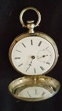H.HUGUENIN POCKET WATCH KEY WINDER FINE SILVER RARE FOR REPAIR
