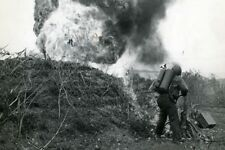 US Marine Flame Thrower Burns Saipan Japanese Pillbox 4x6 WWII WW2 Photo 66