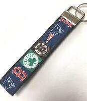 BOSTON SPORTS Key Chain Wristlet RIBBON Key Fob RED SOX, PATRIOTS CELTICS BRUINS