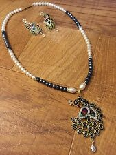 CLEARANCE Indian Pakistani Bollywood White Pearl Necklace Pendant Earring Set