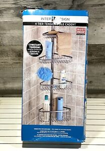 Shower Pole Inter Design 4 Tier Tension Pole Caddy  Rust Proof Extends 5' to 9'