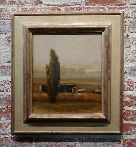 Steven Lee Adams -The Lonely Cypress tree in a Farm Landscape -Oil painting