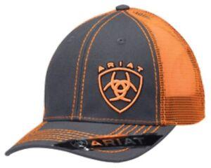 Ariat Western Mens Hat Cap Mesh Back Shield Logo Adjustable Orange Grey 1595126