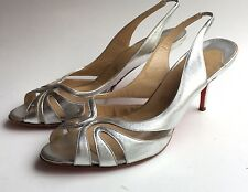 Christian LOUBOUTIN Silver Metallic Stiletto Slingback Heels sandals shoes 40 10