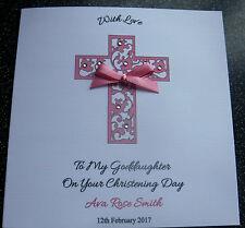 HANDMADE PERSONALISED  CHRISTENING  CARD, FILIGREE CROSS