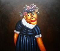 Quality Hand Painted Oil Painting Monkey with Flower and Grape Hat 20x24in