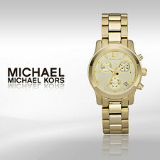 New + Box women's MICHAEL KORS MK5384 Gold Tone Steel RUNWAY Watch Chrono