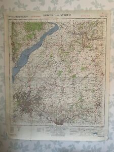 1955 OS Map GSGS War Office Bristol & Stroud Avon Bath Wotton under Edge