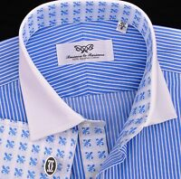 Thin Blue Striped Formal Business Dress Shirt in Contrast French Double 2x Cuffs