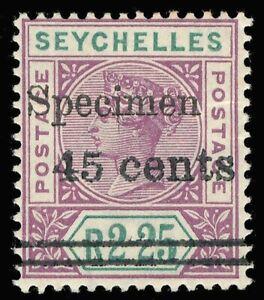 Seychelles 1902 QV 45c on 2r25 mint handstamped SPECIMEN. SG 45s.