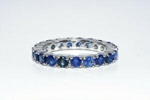 2.20CT NATURAL ROUND CUT BLUE SAPPHIRE SILVER ETERNITY BAND SIZE 7