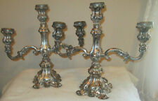 Vintage Candelabra Pair, 3-Branch by Wm. Rogers, #116  Silverplate Baroque CENT