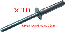 Lot de 30 Rivets pop long alliage 4,8 x 25 mm plaque IMMATRICULATION PLEXIGLAS