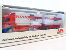 AWM 1/87 55075 Scania Pritschenhängerzug Lüthi Transport Rothrist OVP (TR7120)